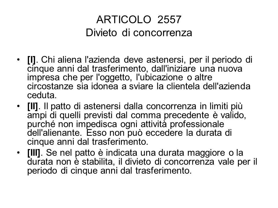 ARTICOLO 2557 Divieto di concorrenza