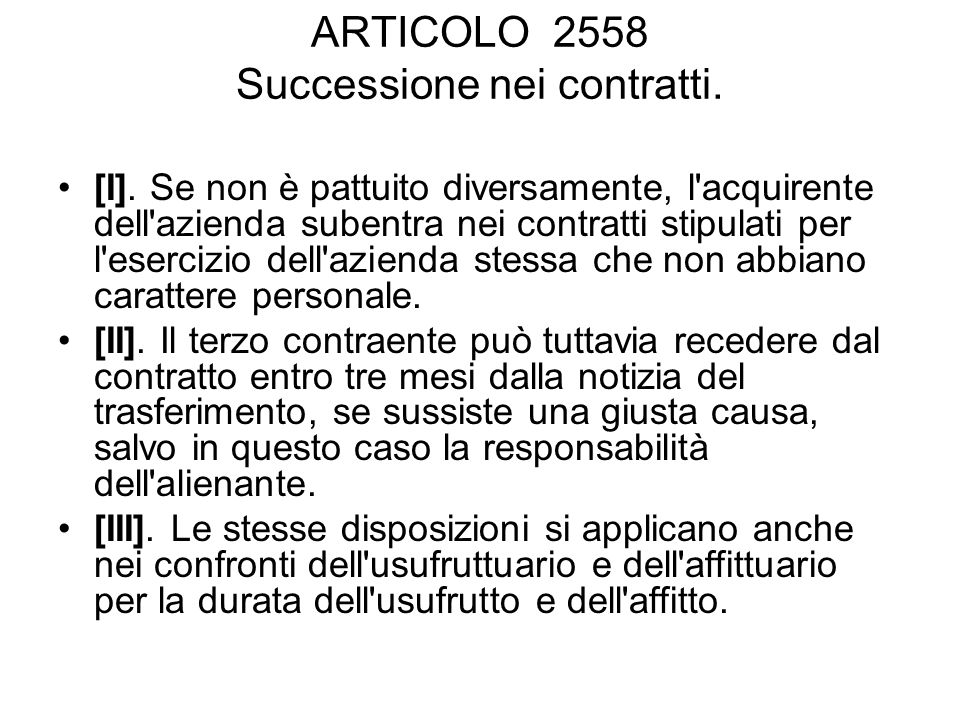 ARTICOLO 2558 Successione nei contratti.