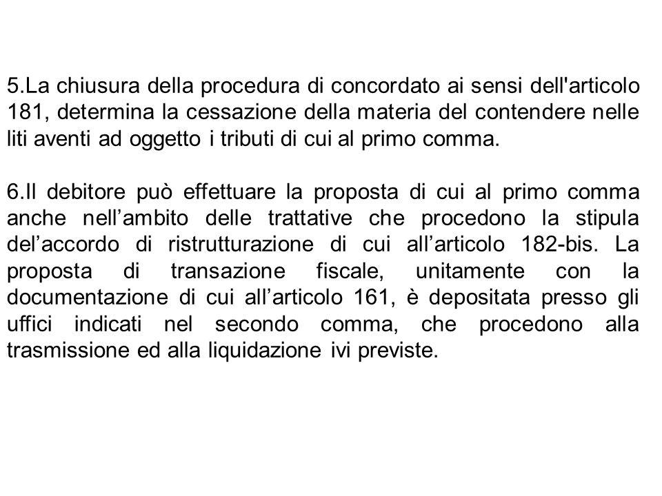 La chiusura della procedura di concordato ai sensi dell articolo 181, determina la cessazione della materia del contendere nelle liti aventi ad oggetto i tributi di cui al primo comma.