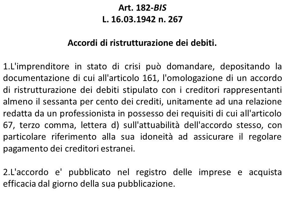 Accordi di ristrutturazione dei debiti.