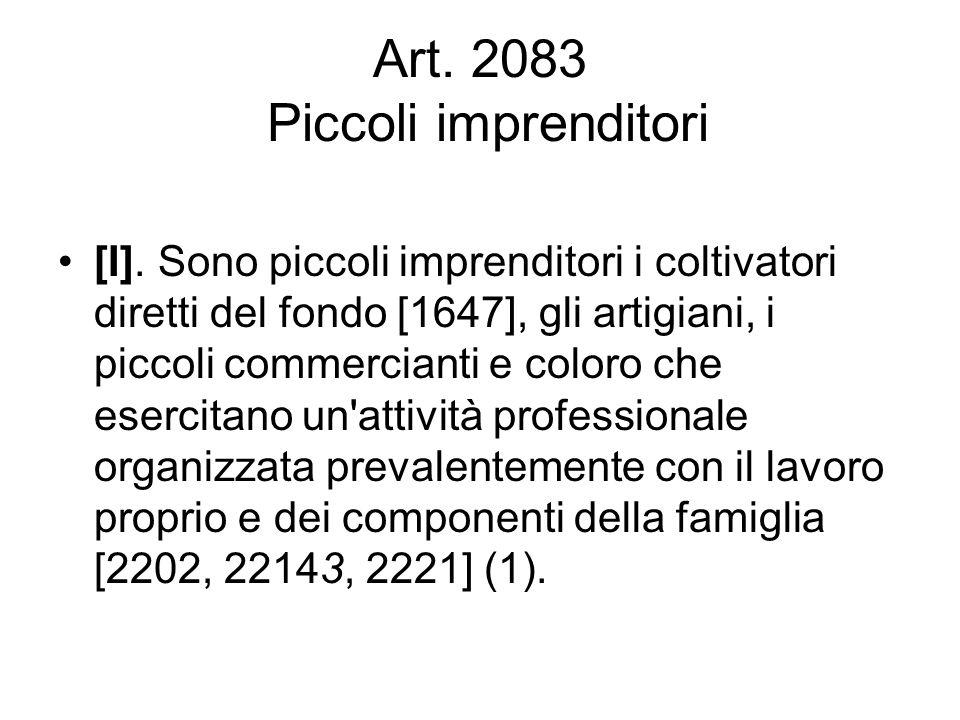 Art. 2083 Piccoli imprenditori