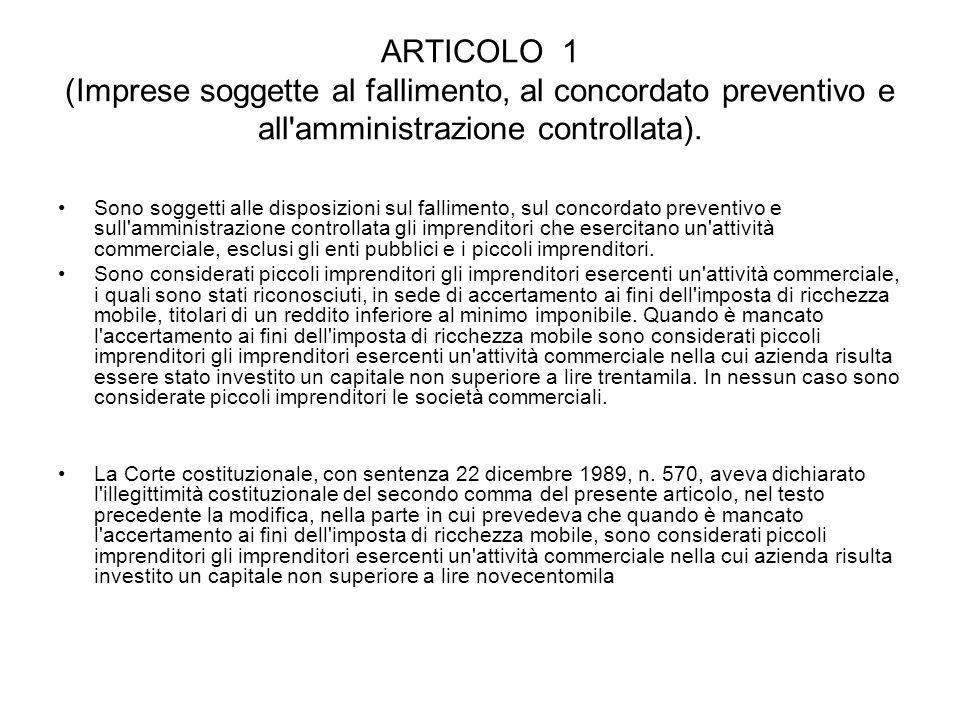 ARTICOLO 1 (Imprese soggette al fallimento, al concordato preventivo e all amministrazione controllata).