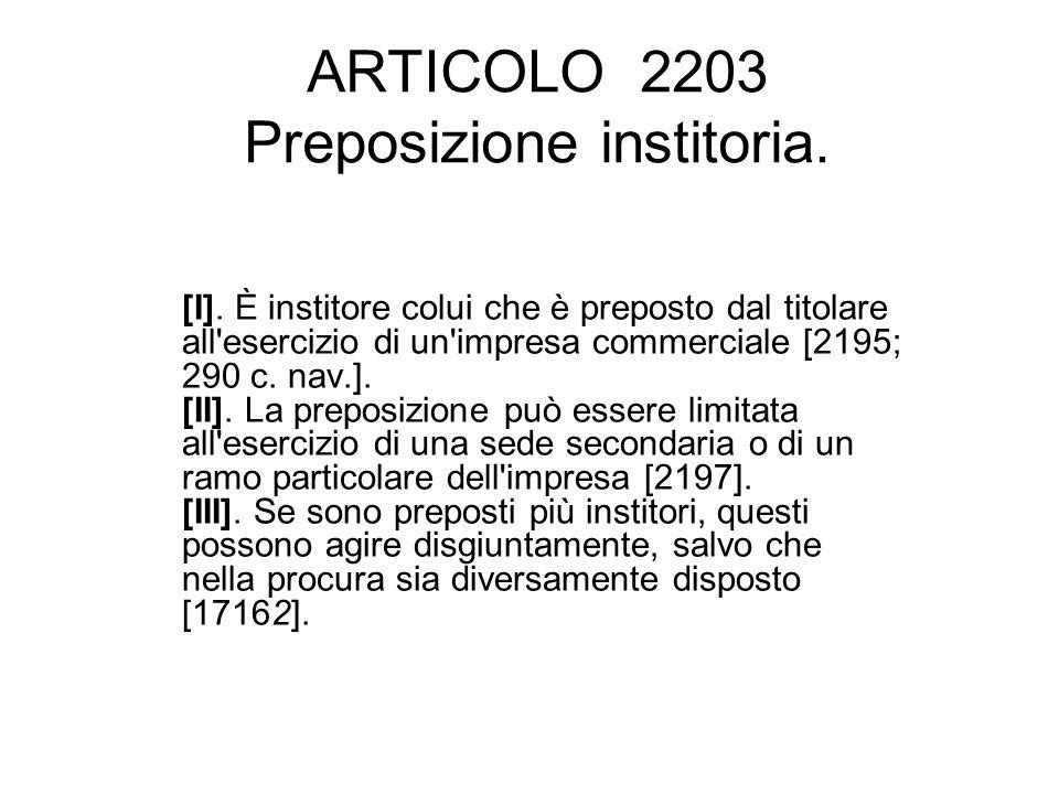 ARTICOLO 2203 Preposizione institoria.