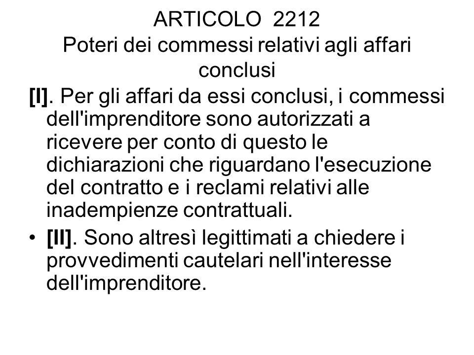 ARTICOLO 2212 Poteri dei commessi relativi agli affari conclusi