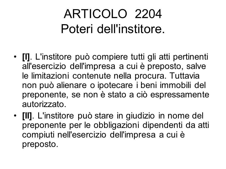 ARTICOLO 2204 Poteri dell institore.