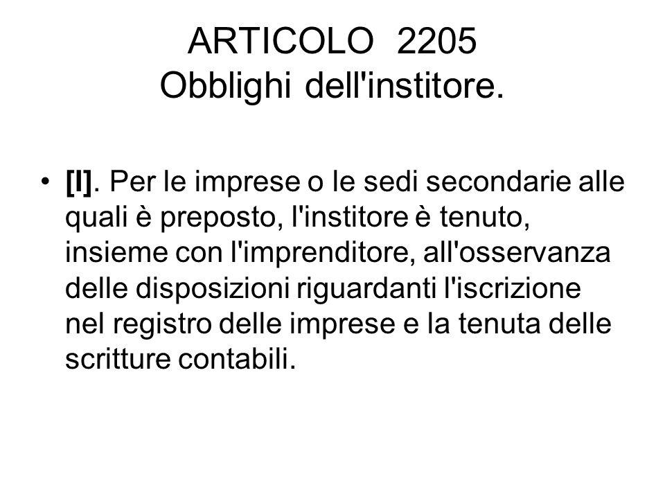 ARTICOLO 2205 Obblighi dell institore.