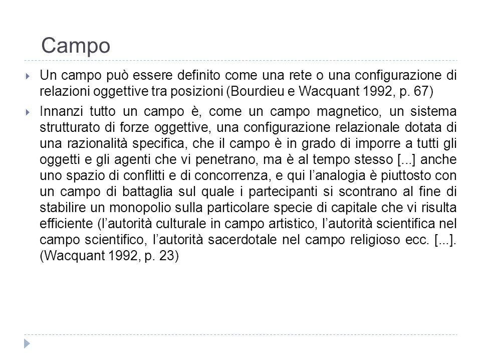 Campo Un campo può essere definito come una rete o una configurazione di relazioni oggettive tra posizioni (Bourdieu e Wacquant 1992, p. 67)