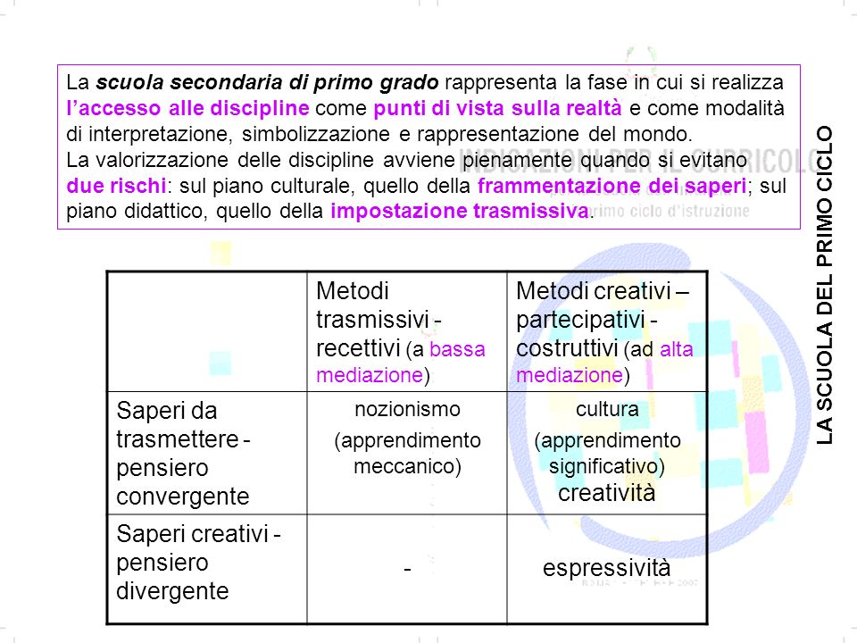 Metodi trasmissivi - recettivi (a bassa mediazione)