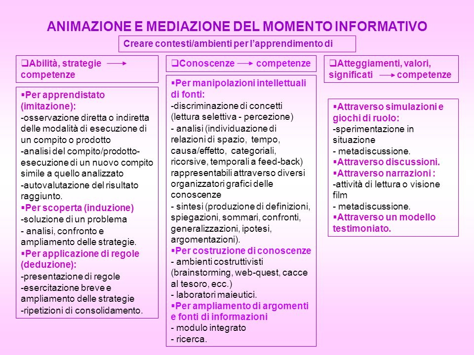 ANIMAZIONE E MEDIAZIONE DEL MOMENTO INFORMATIVO
