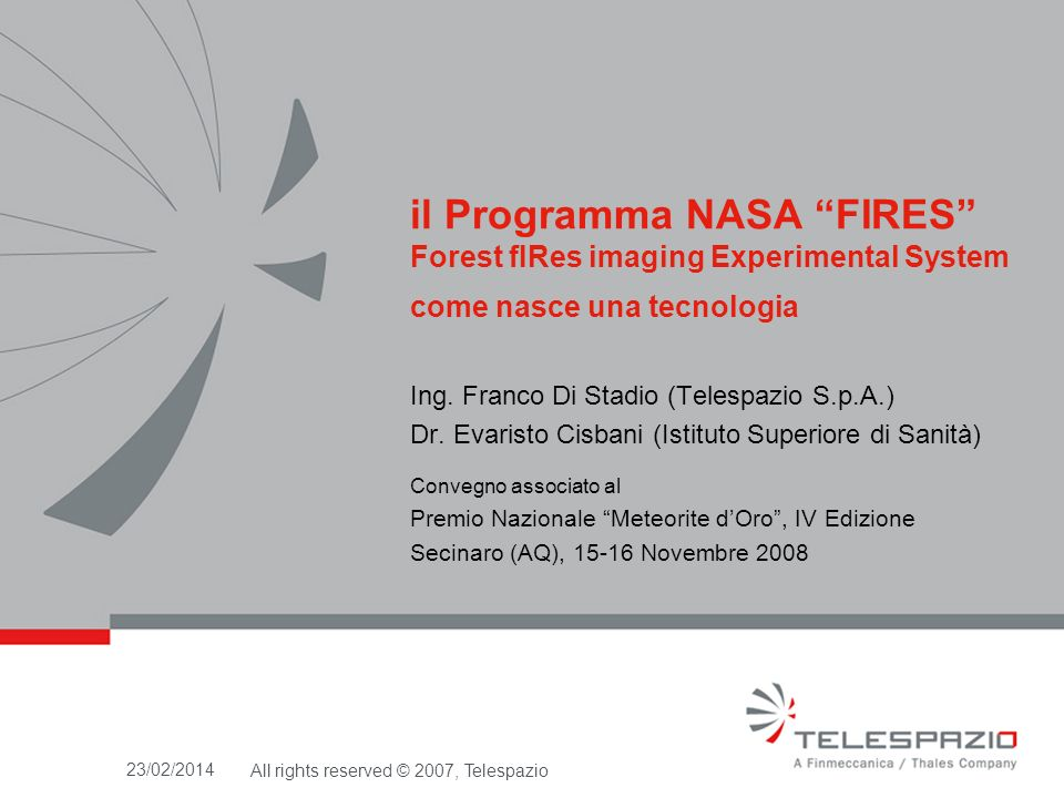il Programma NASA FIRES Forest fIRes imaging Experimental System come nasce una tecnologia