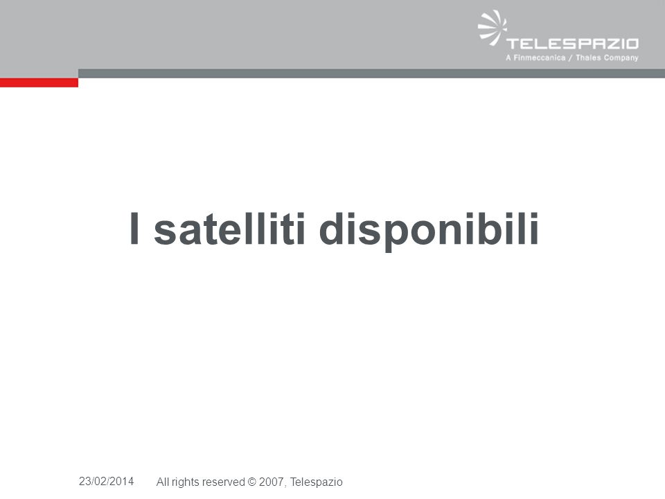 I satelliti disponibili