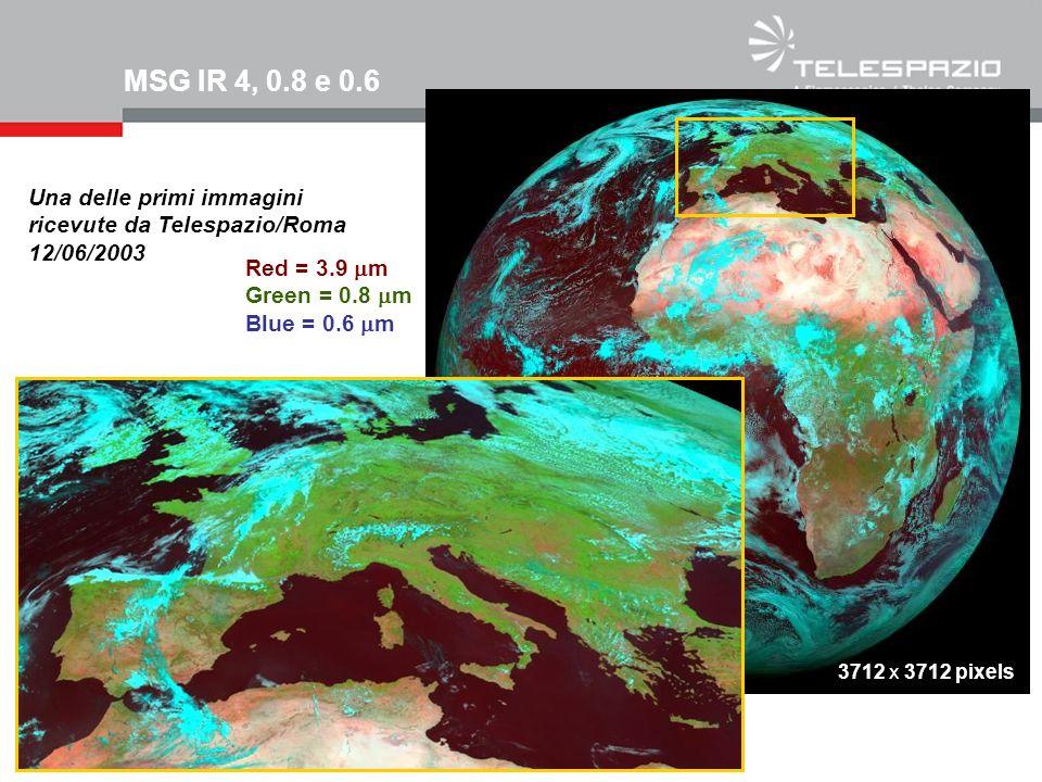 MSG IR 4, 0.8 e 0.6Una delle primi immagini ricevute da Telespazio/Roma 12/06/2003. Red = 3.9 mm. Green = 0.8 mm.