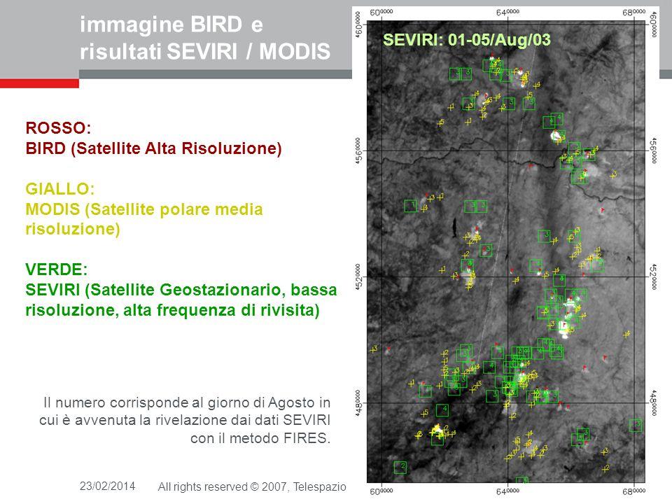 immagine BIRD e risultati SEVIRI / MODIS
