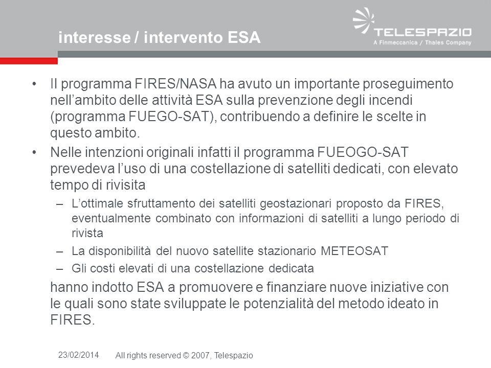 interesse / intervento ESA