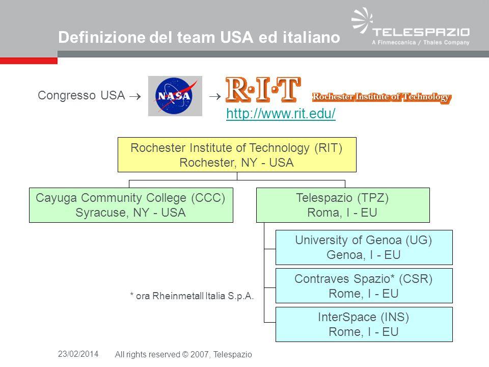 Definizione del team USA ed italiano