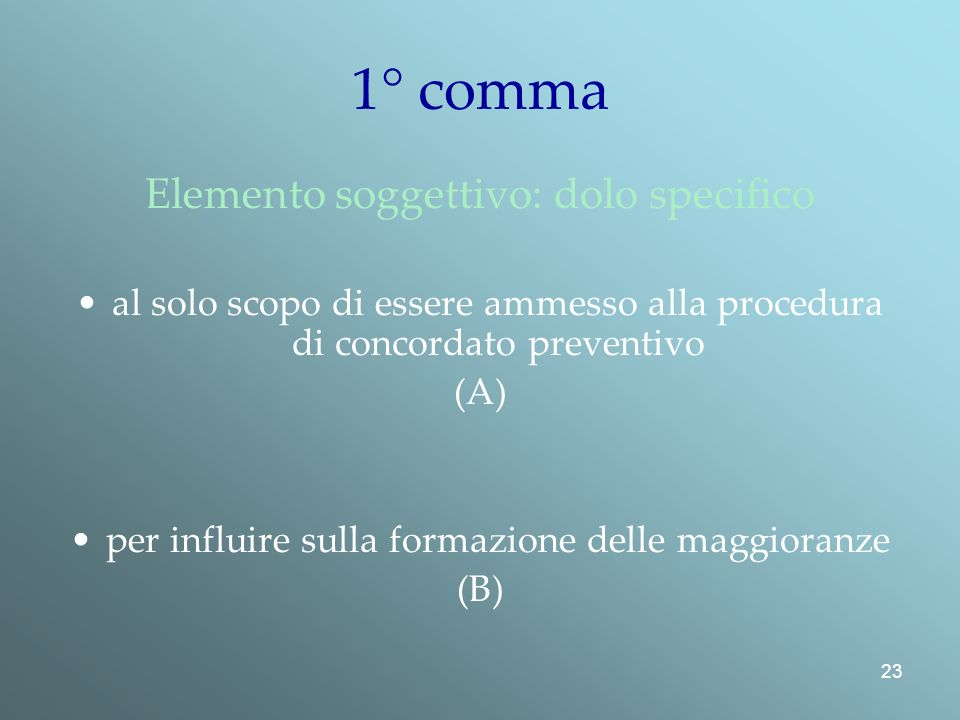 1° comma Elemento soggettivo: dolo specifico