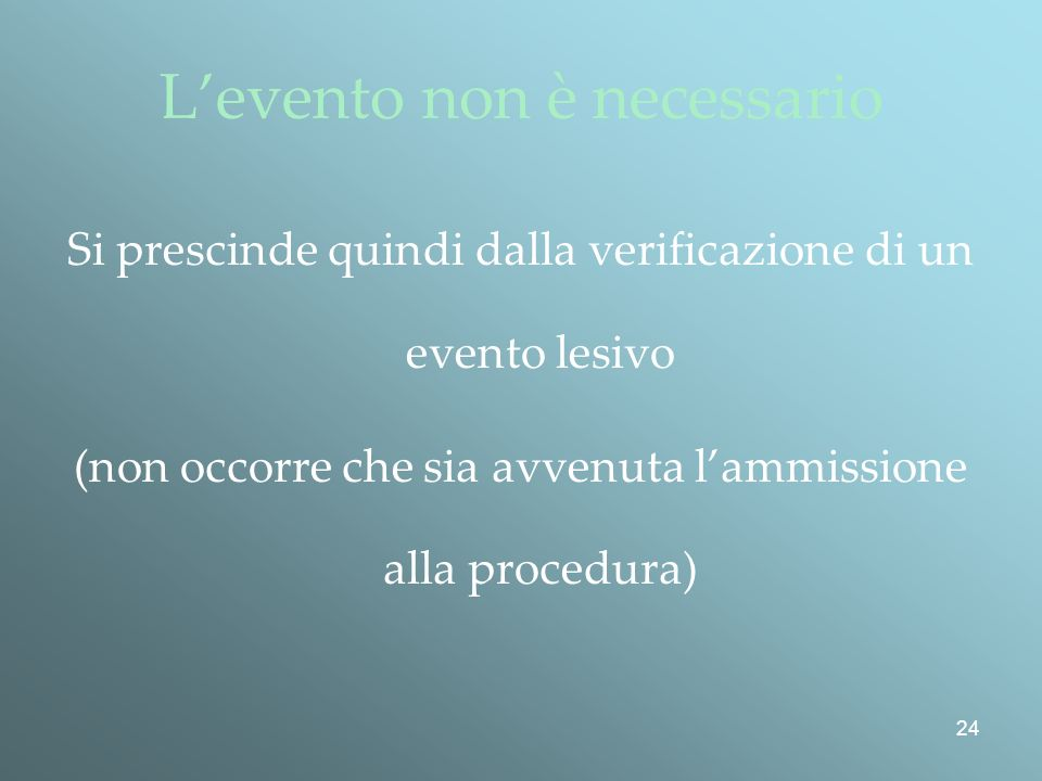 L'evento non è necessario