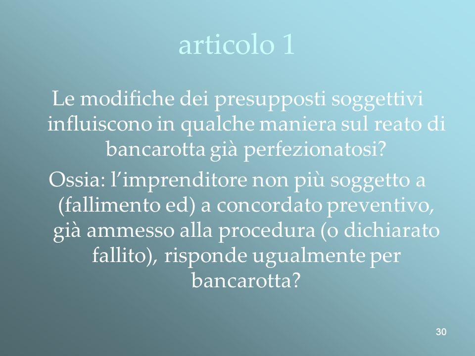 articolo 1 Le modifiche dei presupposti soggettivi influiscono in qualche maniera sul reato di bancarotta già perfezionatosi