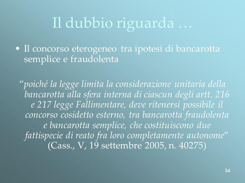 Il dubbio riguarda … Il concorso eterogeneo tra ipotesi di bancarotta semplice e fraudolenta.