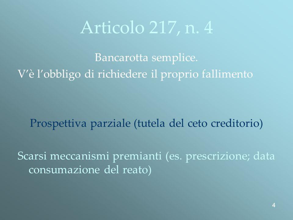 Prospettiva parziale (tutela del ceto creditorio)