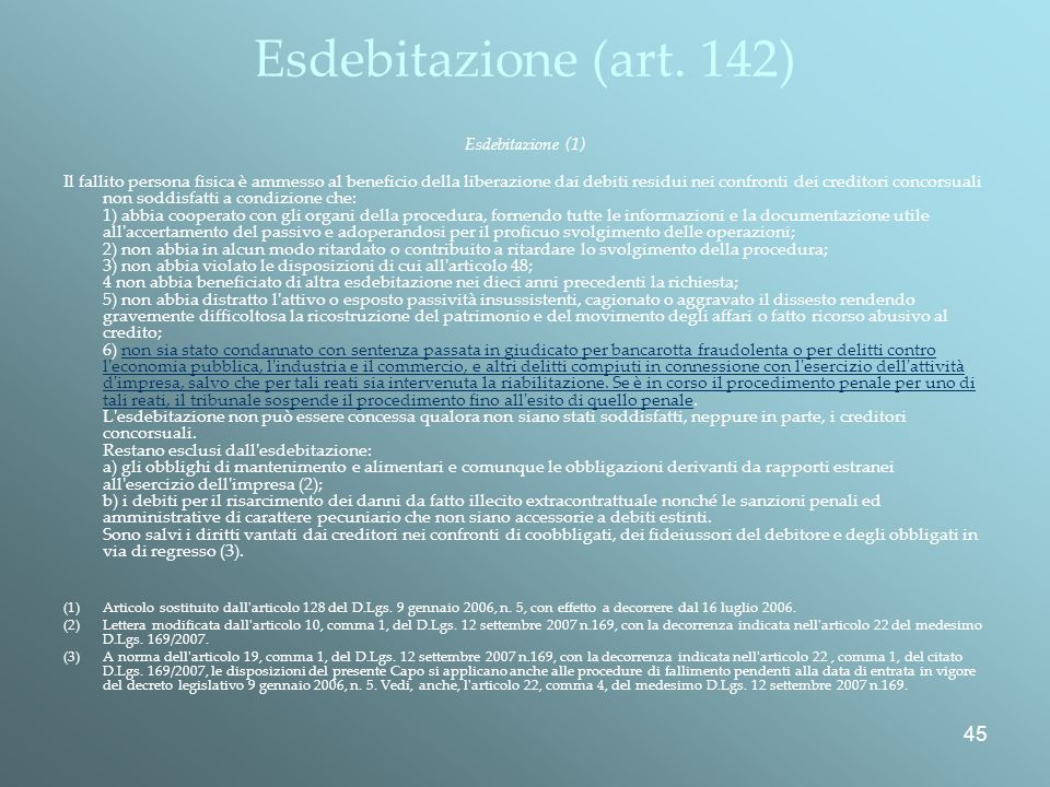 Esdebitazione (art. 142) Esdebitazione (1)