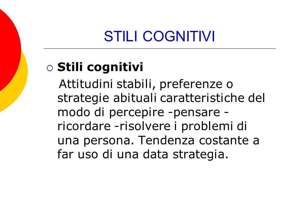 STILI COGNITIVI Stili cognitivi