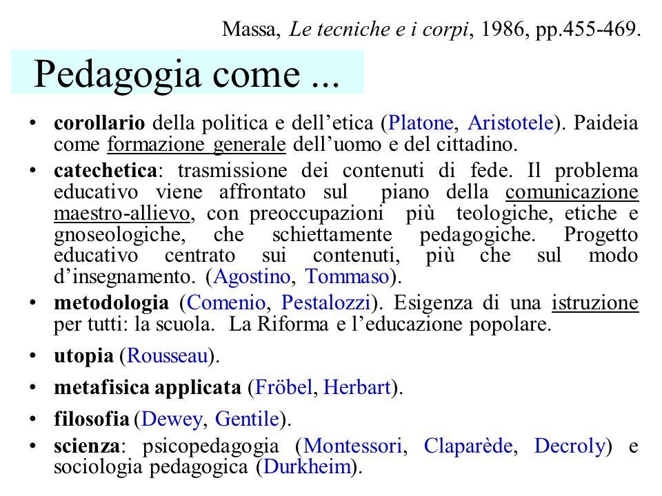 Pedagogia come ... Massa, Le tecniche e i corpi, 1986, pp.455-469.