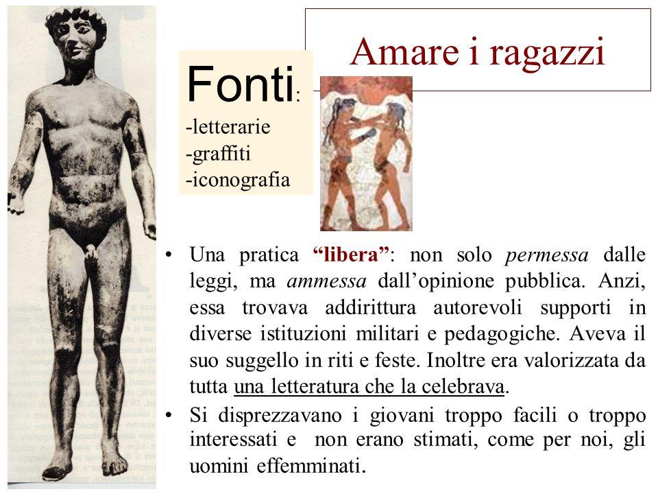 Fonti: Amare i ragazzi -letterarie -graffiti -iconografia