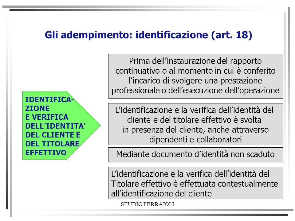 Gli adempimento: identificazione (art. 18)