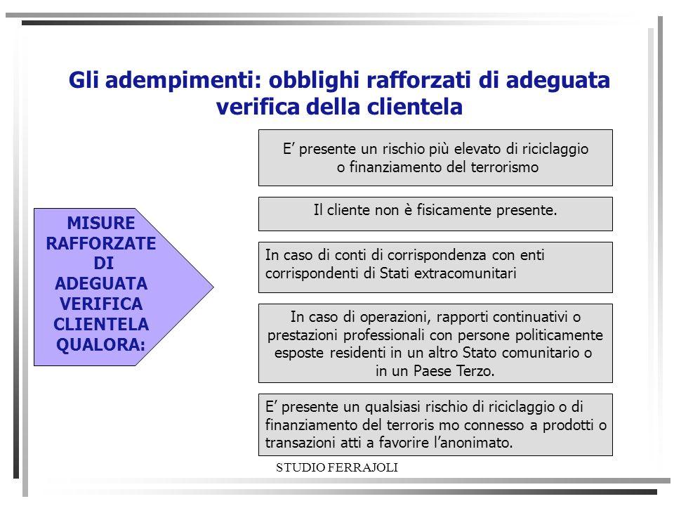 Gli adempimenti: obblighi rafforzati di adeguata verifica della clientela