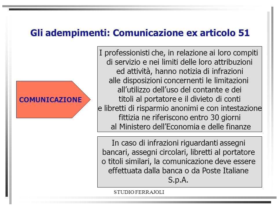 Gli adempimenti: Comunicazione ex articolo 51