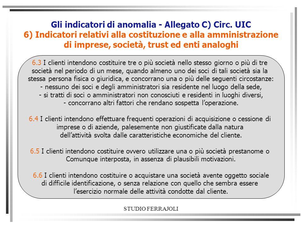 Gli indicatori di anomalia - Allegato C) Circ. UIC