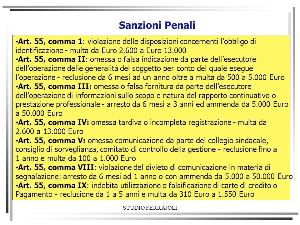 identificazione - multa da Euro 2.600 a Euro 13.000