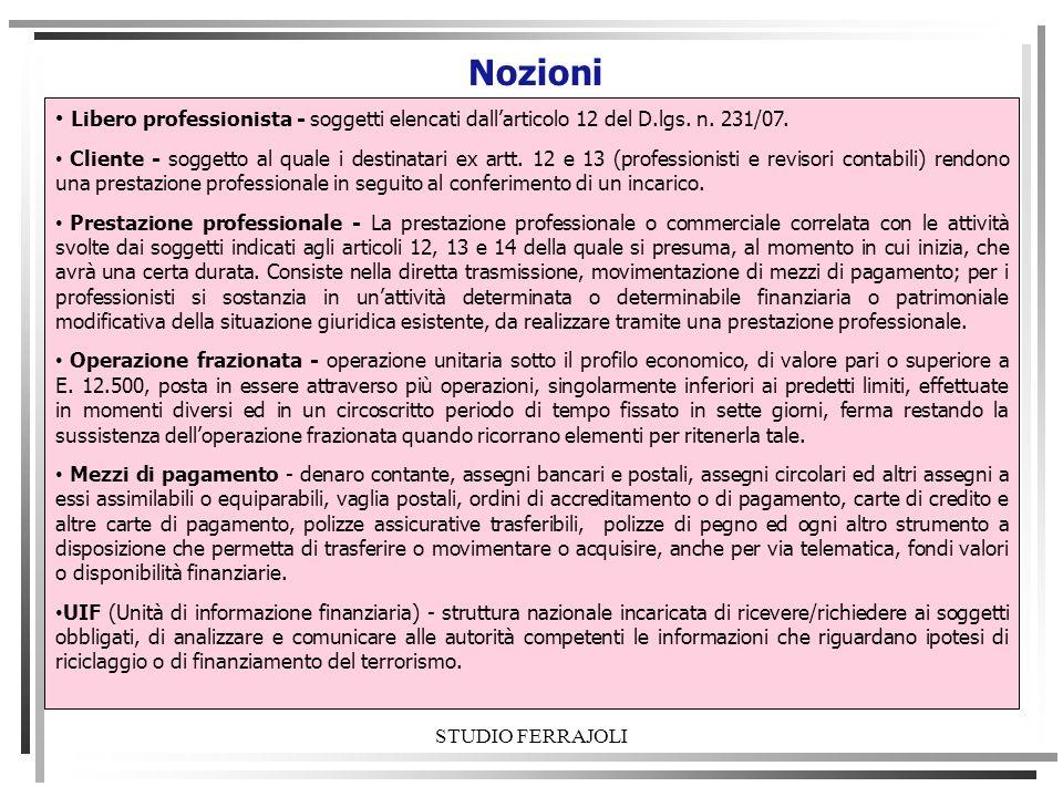 Nozioni Libero professionista - soggetti elencati dall'articolo 12 del D.lgs. n. 231/07.