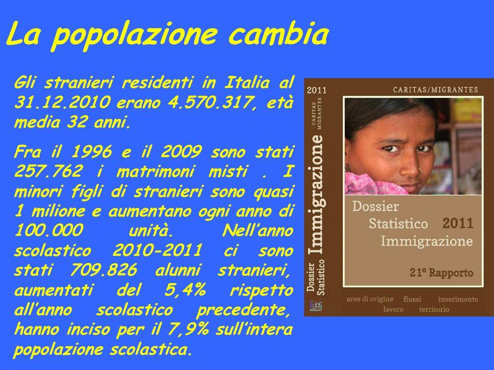 La popolazione cambia Gli stranieri residenti in Italia al 31.12.2010 erano 4.570.317, età media 32 anni.