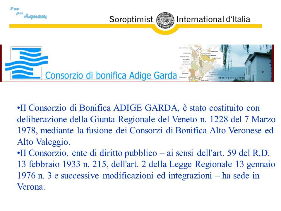 II Consorzio di Bonifica ADIGE GARDA, è stato costituito con deliberazione della Giunta Regionale del Veneto n. 1228 del 7 Marzo 1978, mediante la fusione dei Consorzi di Bonifica Alto Veronese ed Alto Valeggio.