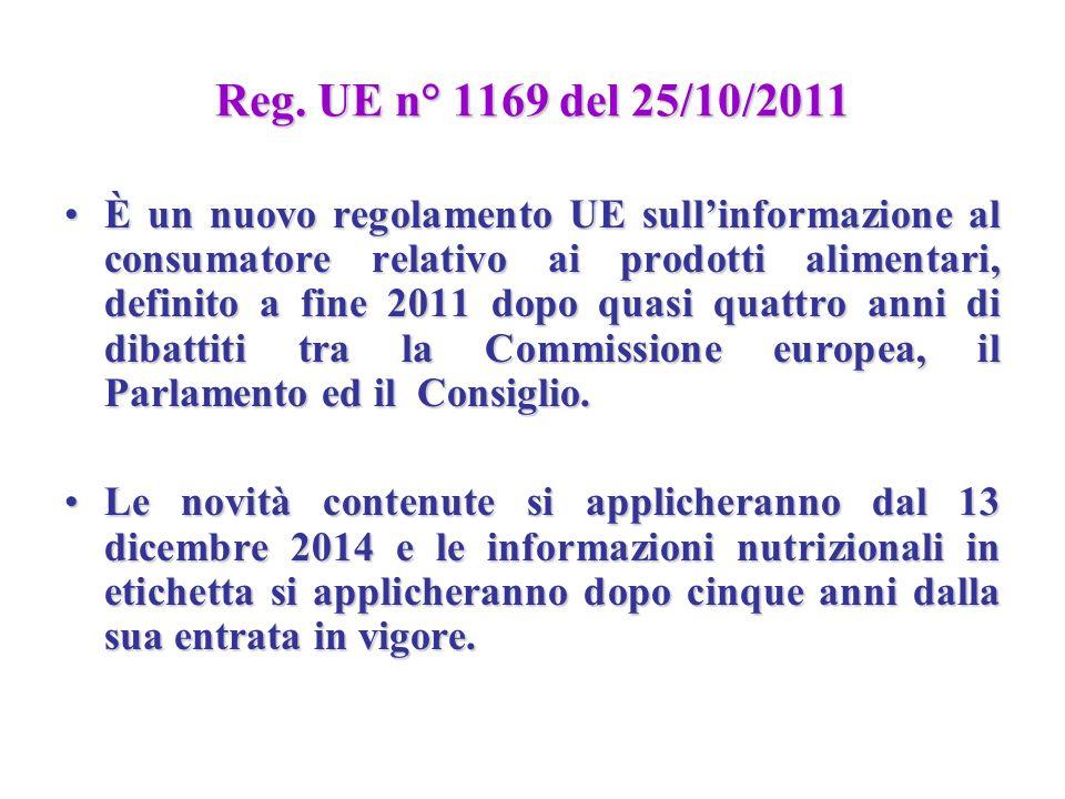 Reg. UE n° 1169 del 25/10/2011