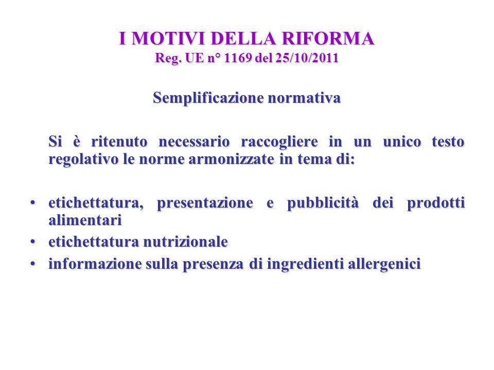 I MOTIVI DELLA RIFORMA Reg. UE n° 1169 del 25/10/2011