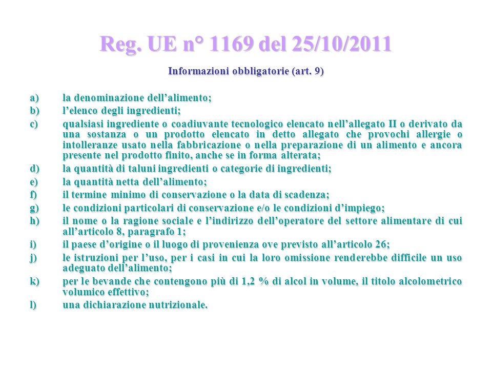 Informazioni obbligatorie (art. 9)