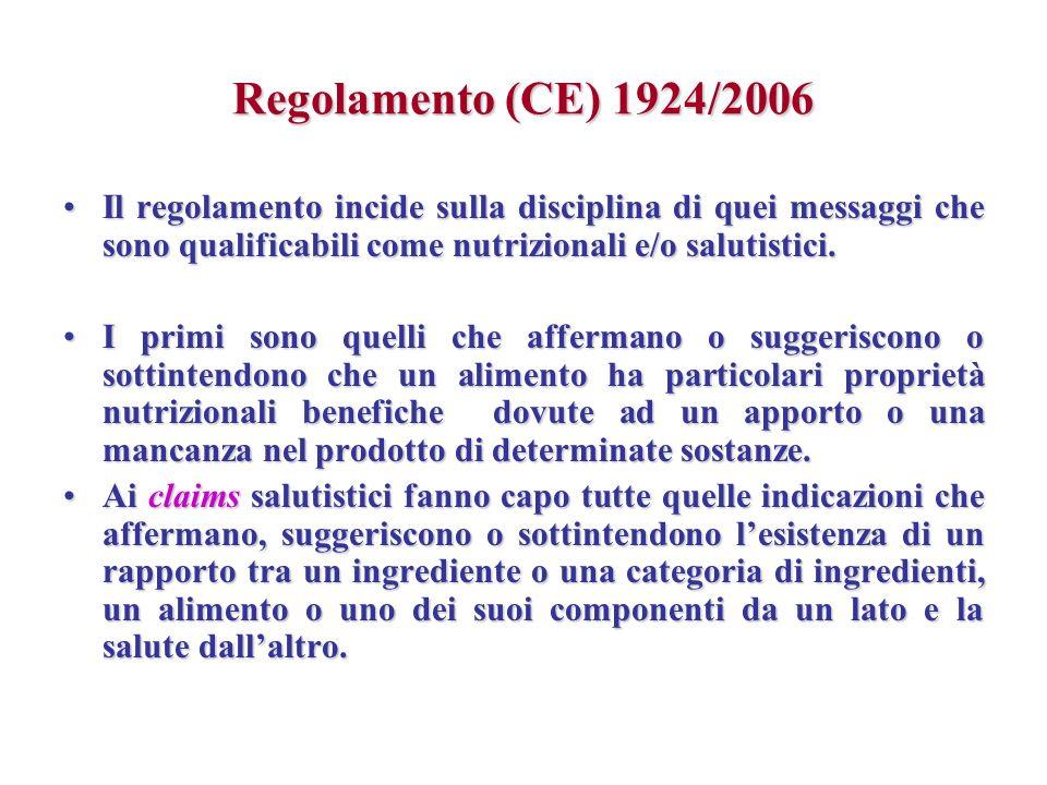Regolamento (CE) 1924/2006 Il regolamento incide sulla disciplina di quei messaggi che sono qualificabili come nutrizionali e/o salutistici.