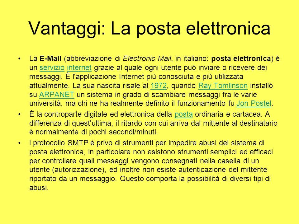 Vantaggi: La posta elettronica