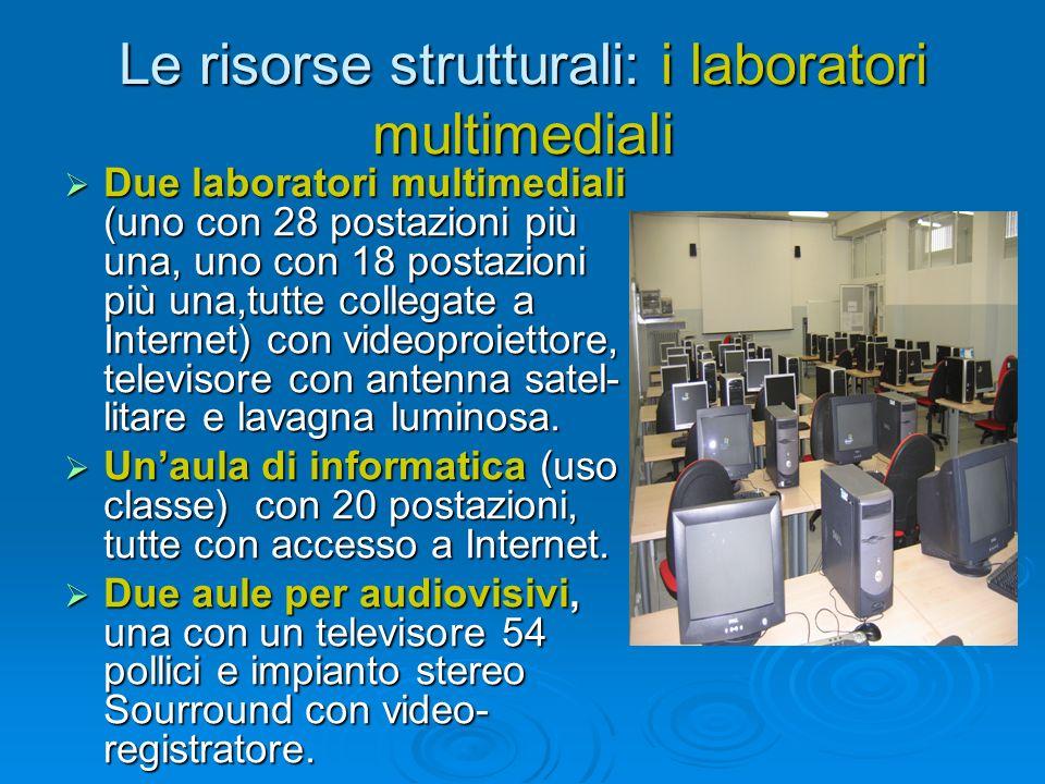 Le risorse strutturali: i laboratori multimediali