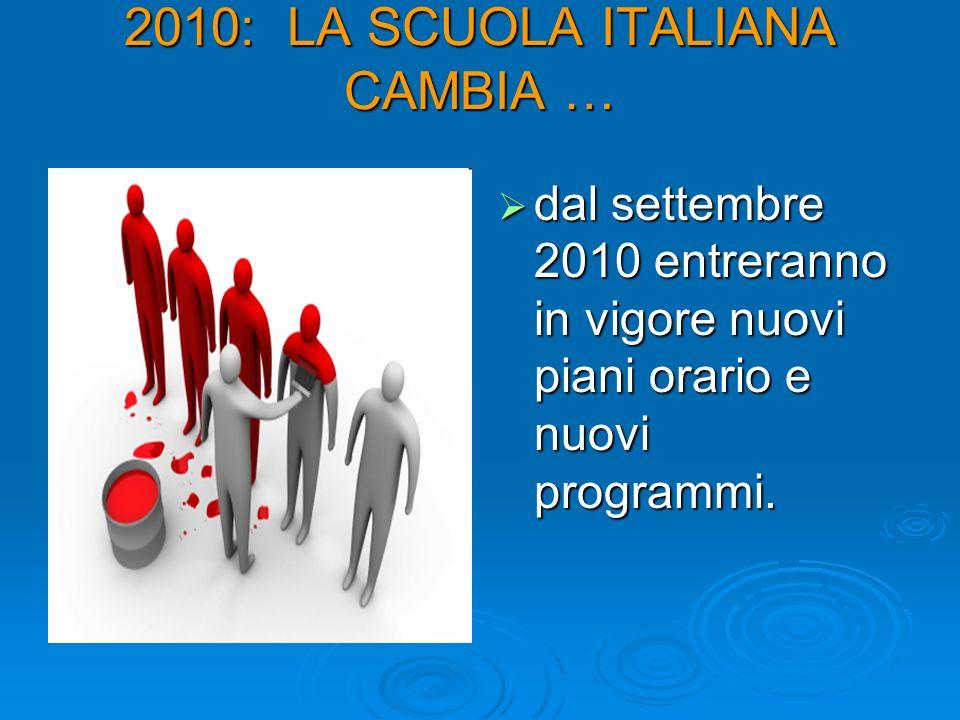 2010: LA SCUOLA ITALIANA CAMBIA …