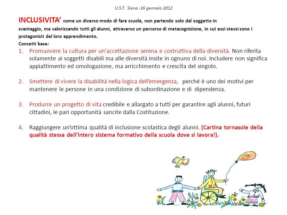 U.S.T. Siena -16 gennaio 2012 INCLUSIVITA' come un diverso modo di fare scuola, non partendo solo dal soggetto in.
