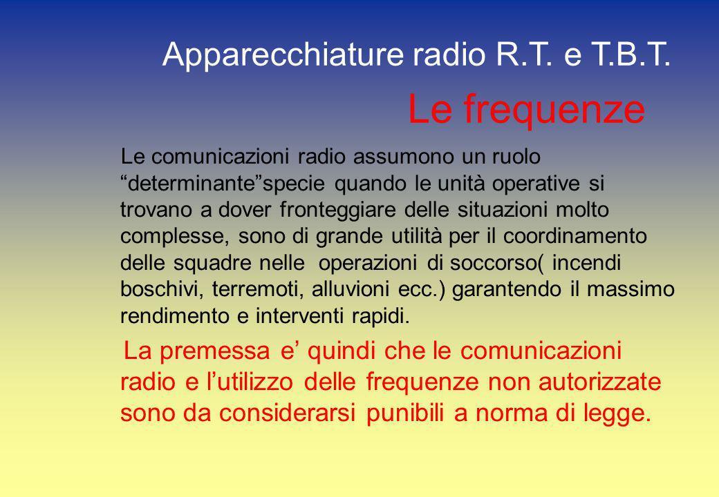 Le frequenze Apparecchiature radio R.T. e T.B.T.