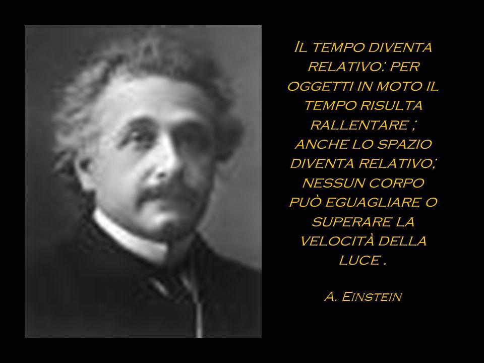 Il tempo diventa relativo: per oggetti in moto il tempo risulta rallentare ; anche lo spazio diventa relativo; nessun corpo può eguagliare o superare la velocità della luce .