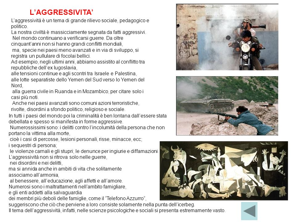 L'AGGRESSIVITA' L'aggressività è un tema di grande rilievo sociale, pedagogico e politico.