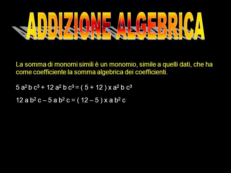ADDIZIONE ALGEBRICA La somma di monomi simili è un monomio, simile a quelli dati, che ha come coefficiente la somma algebrica dei coefficienti.