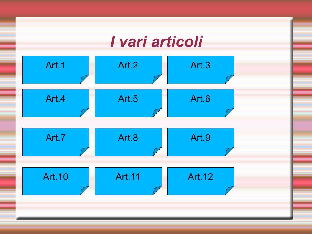 I vari articoli Art.1 Art.2 Art.3 Art.4 Art.5 Art.6 Art.7 Art.8 Art.9