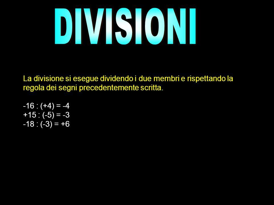 DIVISIONILa divisione si esegue dividendo i due membri e rispettando la regola dei segni precedentemente scritta.